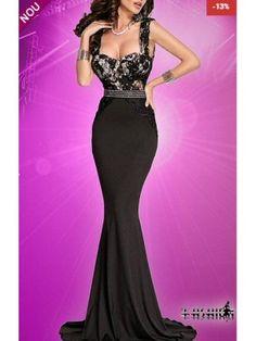 Rochie neagra sirena cu dantela roz pe bust Doris Prom Dresses, Formal Dresses, Mermaid, Gowns, Casual, Fashion, Dresses For Formal, Vestidos, Moda