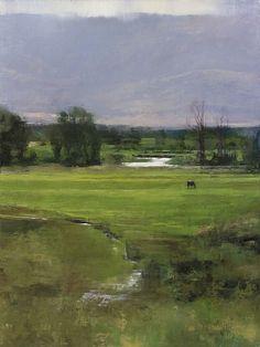 Douglas Fryer, Upper Provo, oïl J'adore ce peintre quelques coups de pinceaux et c'est presque abstrait! Sa maîtrise des verts, extraordinaire!