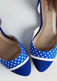 Whole Stride World Flat in Blue. Globe-trot in universally charming style, clad in these cobalt-blue flats! #blue #modcloth