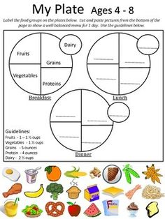 """A worksheet on the new USDA food recommendations.  After a lesson on the """"Food Plate"""" students can use this worksheet to plan out a well balanced menu for one day.  This product contains guidelines and activities for each of these age groups: So make sure you only print the ones you need.4 - 89 - 1314 - 18"""