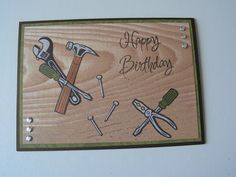 Birthday Greetings For Men, Birthday Cards For Boys, Masculine Birthday Cards, Handmade Birthday Cards, Masculine Cards, Happy Birthday Cards, Card Birthday, Cards For Men Handmade, Greeting Cards Handmade