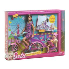 My daughter's birthday is coming up in a couple of weeks. She is in love with Barbie everything. So I want to get her a Barbie doll. I think she will love this Barbie on a bike. Barbie Doll Set, Doll Clothes Barbie, Beautiful Barbie Dolls, Mattel Barbie, Barbie Dress, Barbie Playsets, Barbie Sisters, Best Kids Toys, Kawaii