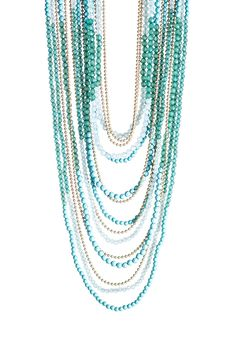 Multi-Green Acrylic Beaded Multi-Strand Necklace