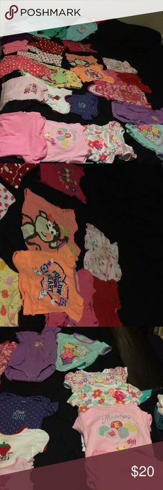 Girls size 18 months clothes bundle There are three pairs of pants, two pairs of shorts, 10 onesies, two onesie dresses, one sleeveless shorts jumper and seven short sleeve shirts. Other