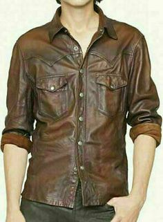 V Tab Leather Shirt Jacket : MakeYourOwnJeans®: Made To Measure Custom Jeans For Men & Women, Customize Jeans, Suits, Leathers Mens Leather Shirt, Leather Jeans, Real Leather, Lambskin Leather, Leather Jackets, Brown Leather, Napa Leather, Distressed Leather, Leather Gloves