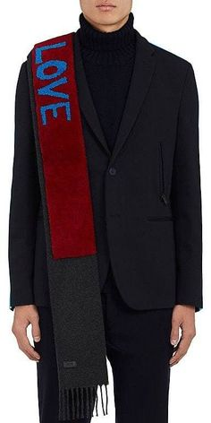 "Fendi Men's ""Love"" Shearling & Wool Scarf"