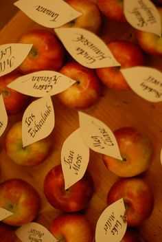 Home grown autumn wedding place cards Or maybe candy/caramel apples as place cards