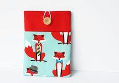 Fox Nexus 7 cover red and aqua blue sleeve case by cherryplumtree, £21.00