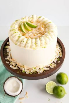 This Lime & Coconut Cake evokes the very best of those tropical island flavours. Tender coconut lime cake layers with a lime curd and coconut buttercream. Cupcakes, Cake Cookies, Cupcake Cakes, Coconut Lime Cake, Coconut Buttercream, Buttercream Cake, Funnel Cakes, Cupcake Recipes, Baking Recipes