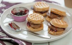 Easy for kids to assemble themselves, these little sandwiches made with chicken sausage and organic whole wheat pancakes use a bit of fruit spread for a perfectly sweet and savory breakfast. Serve with fresh fruit, and a good day is on its way.