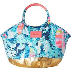 Lilly Pulitzer Bohemian Beach Tote (Sparkling Blue Hey Bay Bay) Tote... ($108) ❤ liked on Polyvore featuring bags, handbags, tote bags, blue purse, blue tote, beach tote, boho purses and tote purses