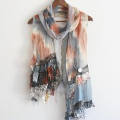 Brown gray scarf, Gray brown silk scarf, Patchwork scarf, Wearable art, Feminine scarves, Brown gray orange scarf, Shawl soil colors