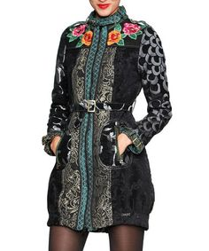 Take a look at this Black Belted Floral Jacket - Women by Desigual on #zulily today!