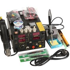 Saike Rework Soldering Station + Hot Air Gun + DC Power Supply 3 in 1 Multi-function Set with full Accessories Diy Electronics, Electronics Projects, Sierra Leone, Usb, Uganda, Belize, Soldering Iron, Soldering Tools, Welding Tools