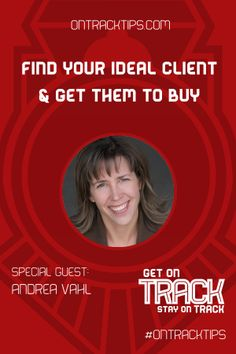 Who is your Ideal client http://jtw.bz/AVHOA1  where to find them , and how to convert them?  Andrea is an expert in client acquisition strategies and she's coming to On Track Tips to give us some practical proven techniques that, when done right, will help us find our Ideal client and convert them. http://jtw.bz/AVHOA1