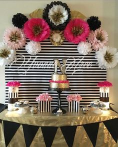 Kate Spade inspired black white pink and gold. Paper flowers decor birthday party decor by DeeDeeBean Kate Spade Party, 30th Birthday Parties, Gold Birthday, Cake Birthday, 21st Party, 60th Birthday Ideas For Mom Party, Birthday Balloons, Baby Shower, Shower Cake
