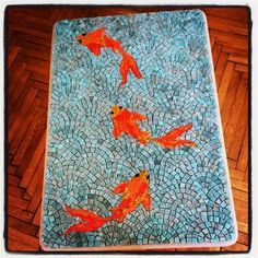 https://flic.kr/p/wVzvGa | IMG_20150112_182523 | Koi Fish Mosaic Coffee Table WIP 2014.