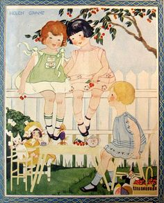 magazine cover, illustrated by Helen Grant. ''Needlecraft'' July 1926.