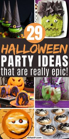 29 Cheap & easy DIY Halloween party ideas that'll scare your guests! These Halloween party ideas are simple, cheap and look really amazing! Halloween Treats To Make, Halloween Cupcakes Easy, Halloween Arts And Crafts, Cheap Halloween, Halloween Banner, Halloween Drinks, Halloween Food For Party, Diy Halloween Decorations, Halloween Candy