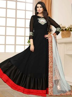 Black Georgette Floor Length Anarkali Suit 120357