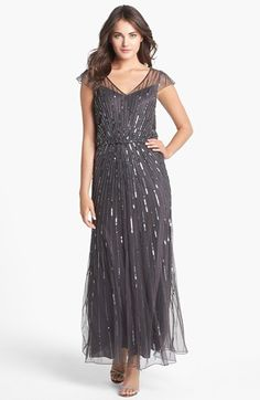 J Kara Beaded Mesh Blouson Gown available at #Nordstrom