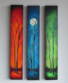 Sunrise Painting, Moon Painting, Painting Art, 3 Piece Painting, Painting Flowers, Painting Tools, 3 Piece Canvas Art, 3 Piece Art, Easy Landscape Paintings