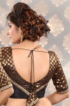 #Black & #Gold Raw Silk & Brocade combo weaved #blouse -BL393