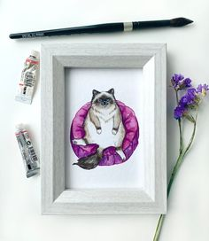 4x6 Art Print: Lounge Cat | Etsy Birman Cat, Watercolor Texture, Colored Pencils, Paper Texture, This Is Us, Neutral, Lounge, Art Prints, Studio
