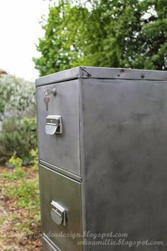 From Boring 1980s Office File Cabinet To Bare Steel Industrial Diy  Makeover! Nightgardendesign.blogspot