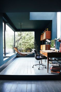 victorian modern / cool office space that includes a hammock with a great view of the woods