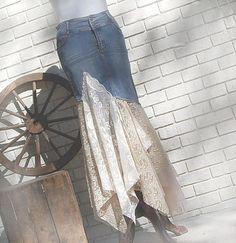 Denim Lace Skirt Tattered Hippie Fairytale Boho by PrimitiveFringe Artisanats Denim, Denim And Lace, Denim Skirts, Jean Skirts, Diy Clothing, Sewing Clothes, Mode Hippie, Diy Vetement, Mode Jeans
