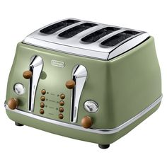 Gorgeous! Delonghi Vintage Icona 4 Slice Toaster - Olive Green Gloss CTOV4003.GR at Amara