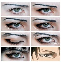Levi Ackerman cosplay makeup tutorial - COSPLAY IS BAEEE! Tap the pin now to grab yourself some BAE Cosplay leggings and shirts! From super hero fitness leggings, super hero fitness shirts, and so much more that wil make you say YASSS! Levi Cosplay, Cosplay Diy, Cosplay Outfits, Anime Eye Makeup, Anime Cosplay Makeup, Makeup Eyes, Diy Makeup, Anime Make-up, Anime Eyes