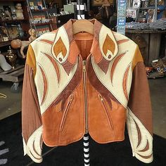 vintage 70s EAST-WEST MUSICAL INSTRUMENTS PARROT LEATHER JACKET retro womens S