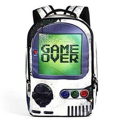 Mochila Game Over. Para os geeks de plantão enlouquecerem! Super espaçosa, cabe o caderno, o notebook e até a manete do video game! hahaha