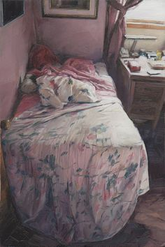 Matthew Schofield - Bed  4 x 6 inches  Oil on Mylar on wood  2011