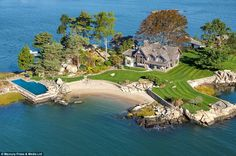 #onmywishlist ... Tavern Island boasts a large mansion, caretaker's cottage and a boat house. The six-bedroom mansion also includes a pool and three ...