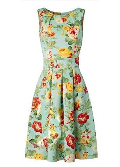 Flower Print High Waist Sleeveless Dress on sale only US$30.73 now, buy cheap…
