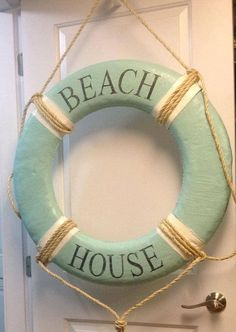 Canvas Life Preserver Ring Vintage Beach House Wall Hanging Nautical Decor - Choose Your Colours and Words Painted to order - please allow up to Beach Cottage Style, Coastal Cottage, Beach House Decor, Coastal Style, Coastal Decor, Coastal Living, Seaside Decor, Coastal Furniture, Furniture Decor
