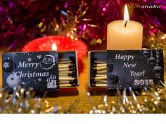 Marry Christmas Matchbox Labels New Year  Printable by VSstudio