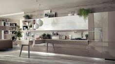 cuisine ouverte sur salon taupe et blanche et suspensions design
