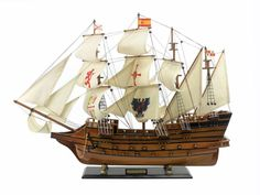 """The Spanish Galleon Limited Edition Model Ship 34"""" is a beautiful piece of the Spanish Galleon; is a historically accurate scale model ship replica that will sit perfectly on any desk, shelf or mantle"""