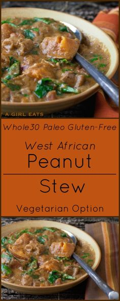 West African Peanut Chicken Stew - Elaina @ The Rising Spoon - West African Peanut Chicken Stew West African Peanut Stew with Chicken and Sweet Potatoes is compliant, Gluten Free and Paleo. Soup Recipes, Vegetarian Recipes, Chicken Recipes, Healthy Recipes, Turkey Recipes, Eat Healthy, Healthy Meals, Free Recipes, Healthy Living