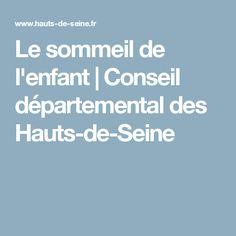 Le sommeil de l'enfant Conseil départemental des Hauts-de-Seine