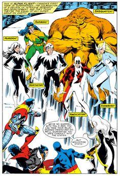 Alpha Flight meet the X-Men by John Byrne and Terry Austin. Interior splash page to X-Men Marvel Comics, Marvel E Dc, Marvel Comic Books, Comic Book Heroes, Marvel Characters, Marvel Heroes, Comic Books Art, Marvel Universe, Comic Book Pages