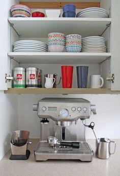 Design Sponge - kitchens - espresso machine, espresso bar with espresso machine Coffee Area, Coffee Nook, Coffee Corner, Coffee Station Kitchen, Home Coffee Stations, Eclectic Kitchen, Kitchen Decor, Kitchen Ideas, Kitchen Inspiration