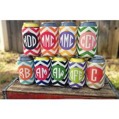 Chevron Koozies! - Please enter initials in ORDER TO APPEAR on the koozie. Font is the Circle Monogram font as shown.