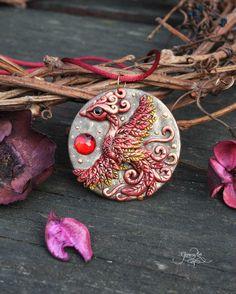 Phoenix medallion - phoenix bird pendant - necklace - fantasy jewelry - fire bird - amulet pendant - wiccan jewelry - polymer clay - ooak - fimo art - hadmade - by GloriosaArt