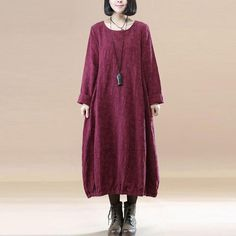Elegant Women Linen Cotton Jacquard Pleated Round Neck Wine Red Dress