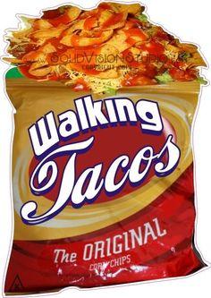 """24"""" Walking Taco Concession Cart Food Truck Mexican Restaurant Menu Sign Decal  #SolidVisionStudio"""